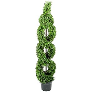 Admired By Nature Artificial Boxwood Leave Double Spiral Topiary Plant Tree in Plastic Pot 35