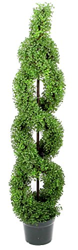Double Spiral Topiary - Admired By Nature 5' Artificial Boxwood Leave Double Spiral Topiary Plant Tree in Plastic Pot, Green/Two-Tone