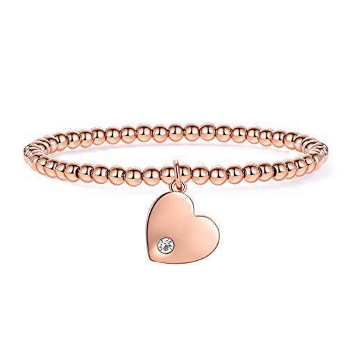 MILATU Gold Plated Charm Bangle Bracelet Heart Pendant Jewelry Link Gift for Women Girls ()