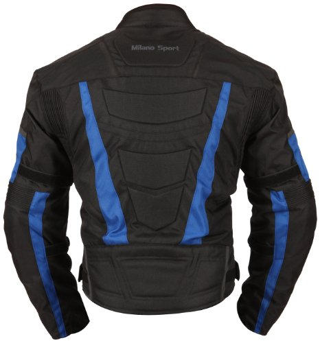 Milano Sport Gamma Motorcycle Jacket with Blue Accent (Black, Large) by Milano Sport (Image #3)
