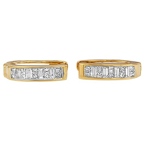 14K Yellow Gold Princess and Baguette-Cut Diamond Earrings (0.50 cttw, H-I Color, SI1-SI2 Clarity)