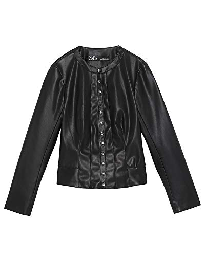 Zara Women Buttoned Faux Leather Jacket 3046/039 (X-Small) for sale  Delivered anywhere in USA