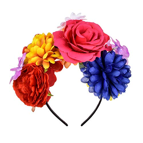 DreamLily Frida Kahlo Mexican Rose Flower Crown Headband Halloween Party Costume Headpiece NC26 (Colorful) -
