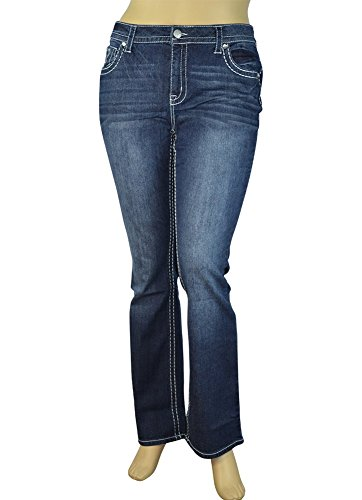 Alfa Global Women's Plus Size Stretch Denim Washed Boot-Cut Pants (20W, (Plus Size Boots Cheap)