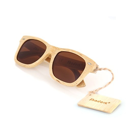 Bamboo Wood Wooden Polarized Sunglasses by Shaderz - Vintage Retro Classic 100% Natural Eco Friendly Handcrafted Lightweight Club Unisex Frames - Reflective Mirror W Tea