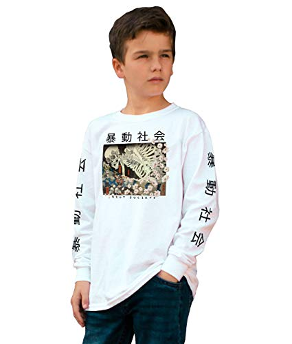 Riot Society Skeleton Japan Boys Long Sleeve Tee - White, Medium