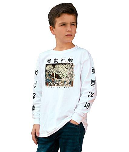 Riot Society Skeleton Japan Boys Long Sleeve Tee - White, Small