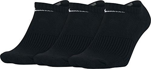 Nike Cotton Cushion No Show Socks with Moisture Management - 3 Pack - Black-L - Nike 3 Pack Moisture