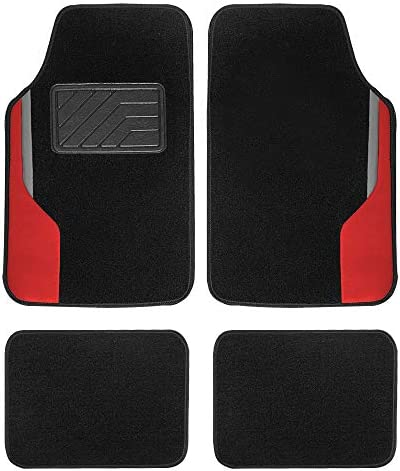 FH Group F14502-RED Universal Fit Color-Block Carpet Floor Mats Full Set