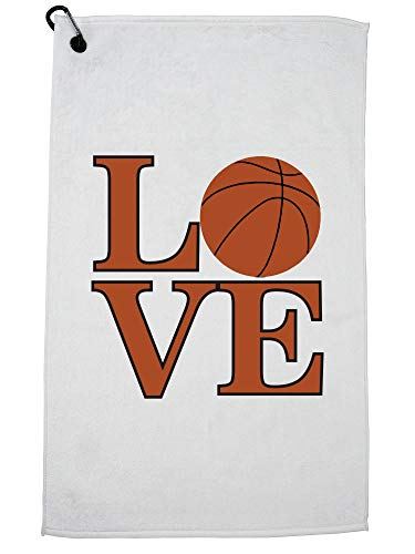 Hollywood Thread Simple Yet Trendy Basketball Love Graphic Golf Towel with Carabiner Clip by Hollywood Thread