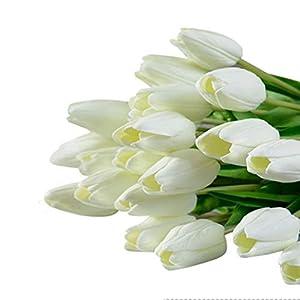 Vibola® Tulip Artificial Flower Latex Real Touch Bridal Wedding Bouquet Home Decor,10pcs (without bottle) Party Decor (White) 48