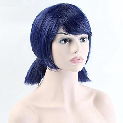 Niños niñas Cosplay Peluca Doble Coleta mechones corto recta azul oscuro peluca de Halloween fiesta de