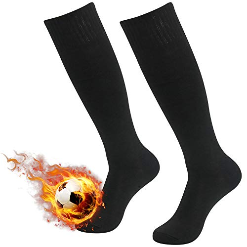 (Three street Unisex Cushioned Knit Cotton Sport Volleyball Soccer Compression Sock Black 2-Pairs)