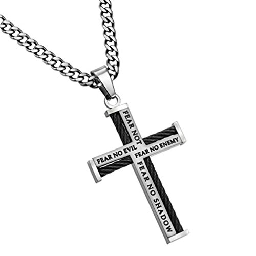 - North Arrow Shop Stainless Steel Cable Cross Necklace for Men, Bible Verse Isaiah 41:10, Psalm 23 Fear NO Evil, Curb Chain (24 Inches)