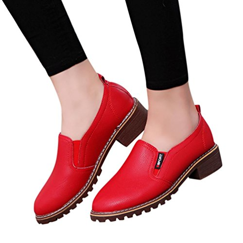 (Todaies Women Shoes Fashion AnkleFlat Oxford Leather Casual Shoes Ladies Short Boots (US:7.5, Red))