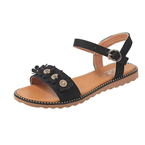Toimothcn Women Low Square Heel Sandals Summer Leisure Peep Toe Sandals Beach Shoes for Girl(Black1,US:5.5)