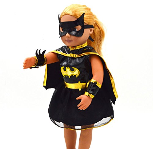 Evursua 18inch Doll Dress Batgirl Cosplay Clothes for American Girl Halloween Costume with Mask Cloak with Gifts Doll -