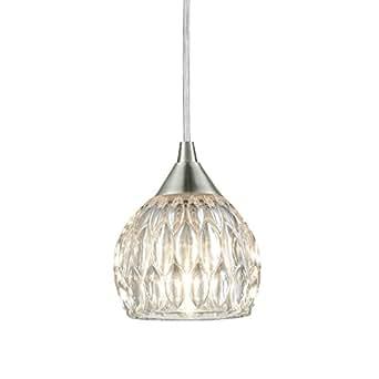 Brushed nickel mini pendant hanging lights with groove clear glass brushed nickel mini pendant hanging lights with groove clear glass shade 1 aloadofball Images