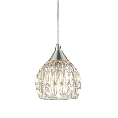 Brushed Nickel Mini Pendant Hanging Lights with Groove Clear Glass Shade, 1---Light(Free Bulb Included)