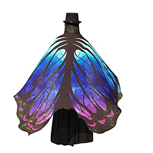 VESNIBA Soft Fabric Butterfly Wings Shawl Fairy Ladies Nymph Pixie Costume Accessory (197125CM, Blue -3) -