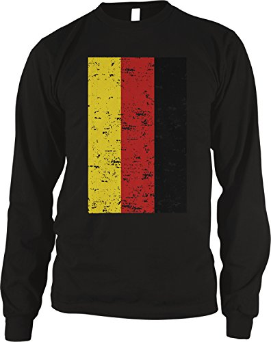 fan products of Amdesco Men's Deutschland Germany Flag Faded Vintage German Flag  Thermal Shirt, Black XL