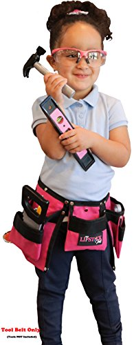 Kids Pink Tool Belt for Girls - Real Children's Tool Pouch for That Cute Little Helper. Play and Create Construction Projects with Your Child. Great for Costume Dress Ups! ()