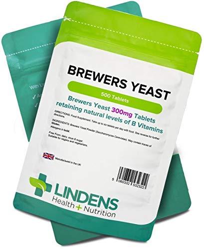 Lindens Levadura de cerveza 300 mg en comprimidos   500 Paquete   Fuente natural de vitaminas y micronutrientes y sin desamargar para una nutrición máxima: ...
