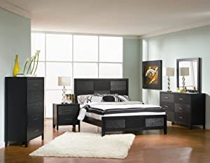 Amazoncom 4pc queen size bedroom set with wood grain in for 4pc queen size bedroom set with wood grain in black finish