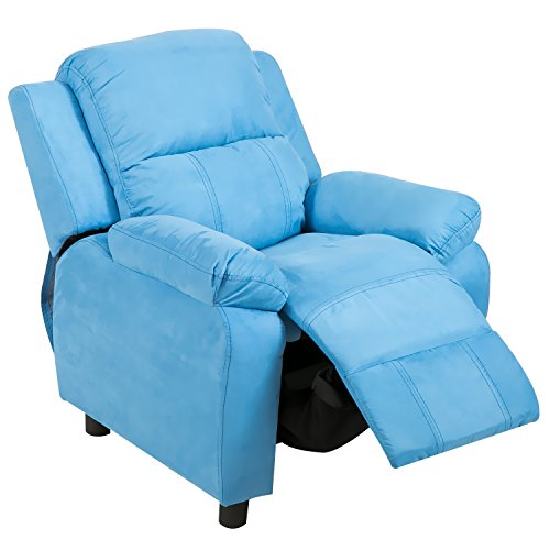 Harper&Bright Designs Kids Recliner with Arms Fabric Sofa Chair for Child (Blue Fabric) from Harper&Bright Designs