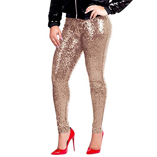 HUAMIN Womens Fashion Sequin Embroidery Nightclub Sparkle Pants Wind Straight Trousers with Lining (L, -