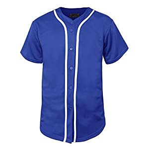 Hat and Beyond Mens Baseball Jersey Button Down T Shirts Hipster Plain Hip Hop 1UPA02 (2X-Large, 01 Royal Blue/White)