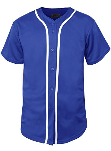 Blue Button Down Jersey (KS Mens Baseball Jersey Button Down T Shirts Plain Short Sleeve S-3XL 1KSA0002 (X-Large, Royal Blue/White))