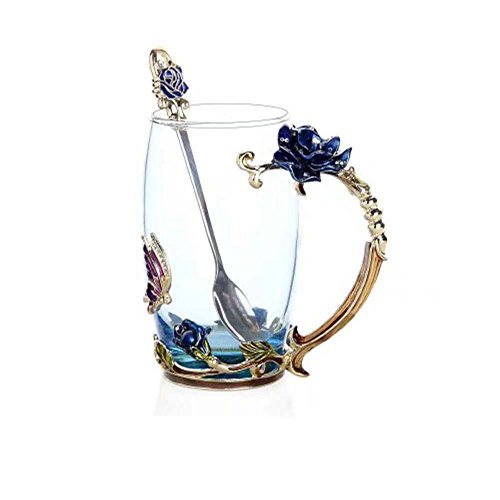 FENHAR Luxury Upgrade Enamel Glass Of Rose Bowl Heat-Resistant Crystal Glass Coffee Cup Couples Creative Gift Flower Tea Cup (Blue rose tall)
