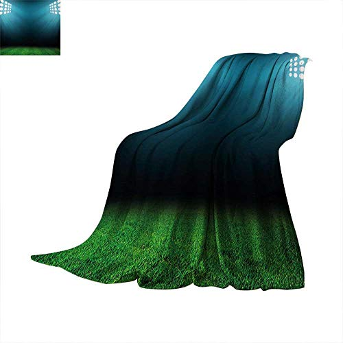 Anhuthree Digital Super Soft Lightweight Blanket Night at Stadium with Reflections on Grass Champion Show Performance Image Summer Quilt Comforter 60
