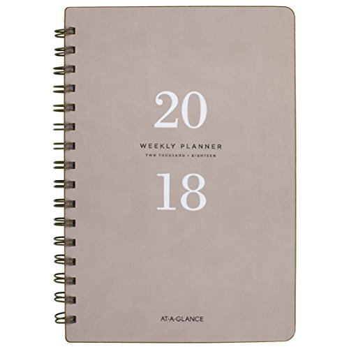 "AT-A-GLANCE Weekly / Monthly Planner, January 2018 - January 2019, 5-3/4"" x 8-1/2"", Signature Collection, Gray (YP20008)"