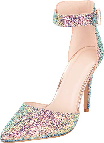 Cambridge Select Women's Pointed Toe D'Orsay Ankle Strap Iridescent Glitter Stiletto High Heel Pump,8.5 B(M) US,Rose Gold ()