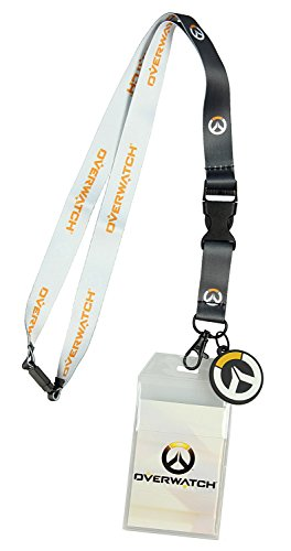 Bioworld Overwatch Logo Lanyard with Rubber Charm, Clear ID Holder, and Collectible Sticker ()