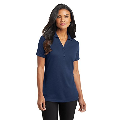 Port Authority Ladies Silk Touch Interlock Sport Shirt, Navy, 4XL