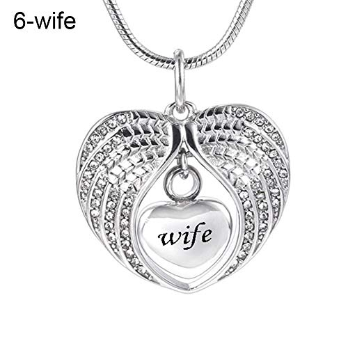 lightclub Fashion Dad Mom Son Rhinestones Inlaid Wing Heart Clavicle Chain Necklace Gifts - Wife Elegant Necklace for Women