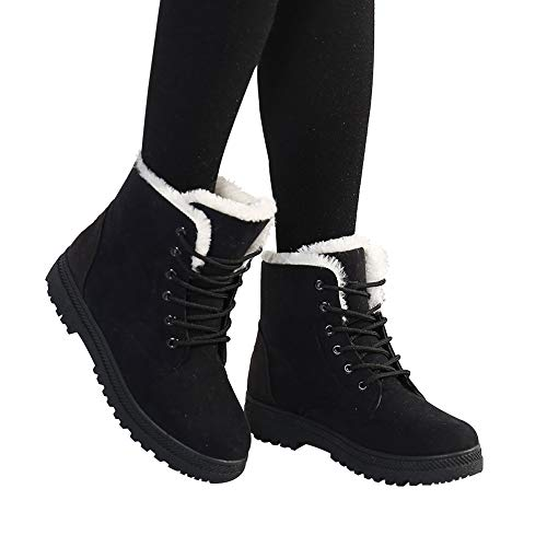 Alicegana Women Boots Ankle Platform Cotton Warm Fur Snow Boots Winter Lace Up Flat Booties Cute Plus Size Comfortable Shoes
