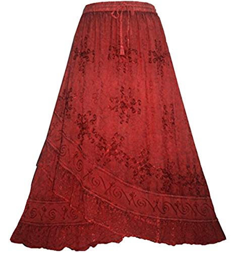 (Agan Traders 702 SK Women's Elastic Waistband Gypsy Medieval Peasant Cross Ruffle Maxi Skirt (L/XL, B Red))