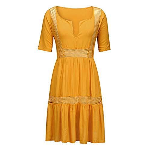 Aniywn Women's Dresses Bohemian Ruffles Short Sleeve Dress Large Size Solid Hollow Out Casual Mini Dress Yellow ()