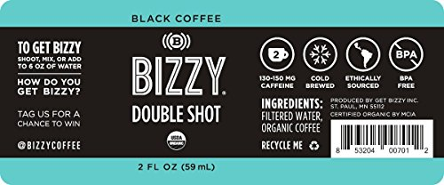 Bizzy Organic Cold Brew Coffee Concentrate - Single Serve 2oz Double Shot - Black Coffee - 12 Pack by Bizzy (Image #5)