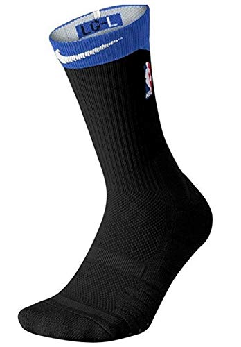 Nike Men's NBA Elite Quick Crew Cushioned Basketball Socks Black/Royal Size M