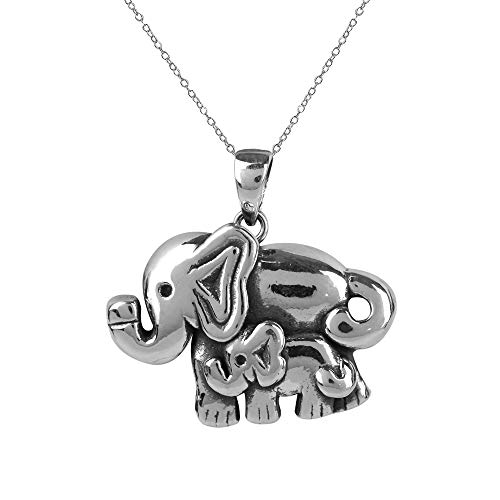 LeCalla Sterling Silver Jewelry Antique Elephant Mother and Child Pendant with Cable Chain for Women