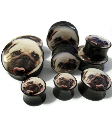 Pair of 00 Gauge Pug Plugs (00G - 10mm) Double Flared (AC039)