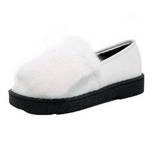 AllhqFashion Damen Ziehen auf PU Leder Rund Zehe Hoher Absatz Rein Pumps Schuhe Weiß