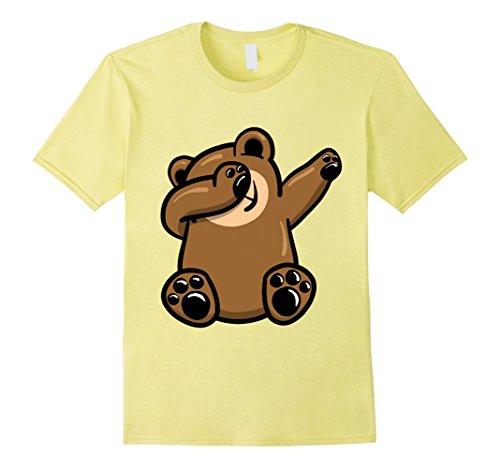 Yellow Dancing Bear (Mens Dabbing Bear Shirt, Funny Cute Animal Dab Dance T Shirt Large Lemon)
