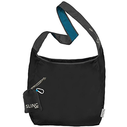 ChicoBag Sling rePETe Crossbody Hands-free, Large Open Top Messenger Style Shopping Bag with Pouch, Storm Black