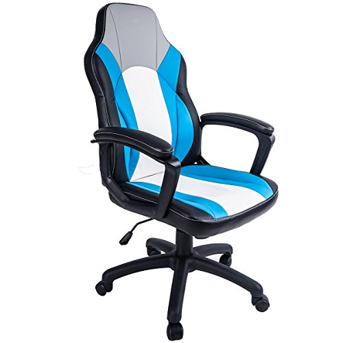 Merax Ergonomic Swivel Racing Style Gaming Chair for Home and Office (Blue and White)